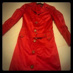 Women's long jacket / red / satin